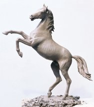 ARAB STALLION REARING: Clay maquette for public commission