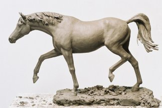 ARAB STALLION WALKING: Clay maquette for public commission