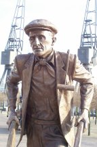 DOCKERS - BARROWMAN: Bronze public sculpture 9ft figure - ExCel Exhibition Centre Docklands London