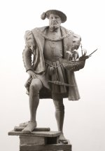 HENRY VIII HOLDING THE MARY ROSE: Figurative sculpture - proposal for Tudor series at Greenwich London