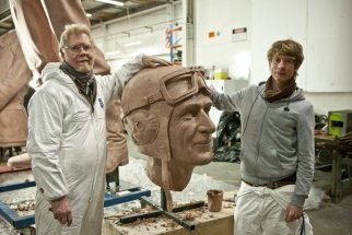 LES AND SON JOSEPH: Working on Sir Keith Park memorial statue at Weta Workshop - New Zealand